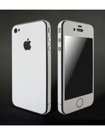 Карбоновая наклейка для Iphone 4. Белый матовый. FULL