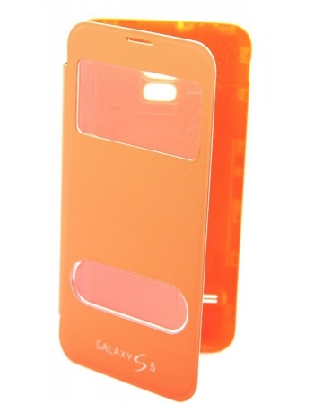 Чехол Samsung Galaxy S5 flip. Оранжевый цвет