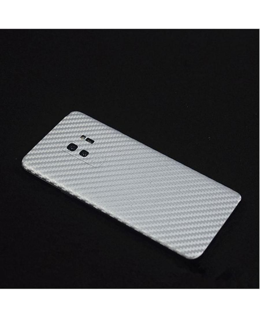 Карбоновая наклейка Samsung Galaxy S9. Белый цвет