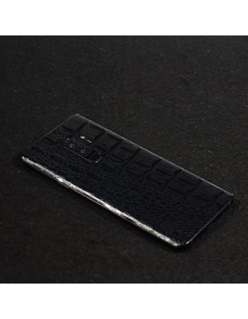 """Виниловая наклейка Samsung Galaxy S9 """"кожа крокодила"""". Черный цвет"""