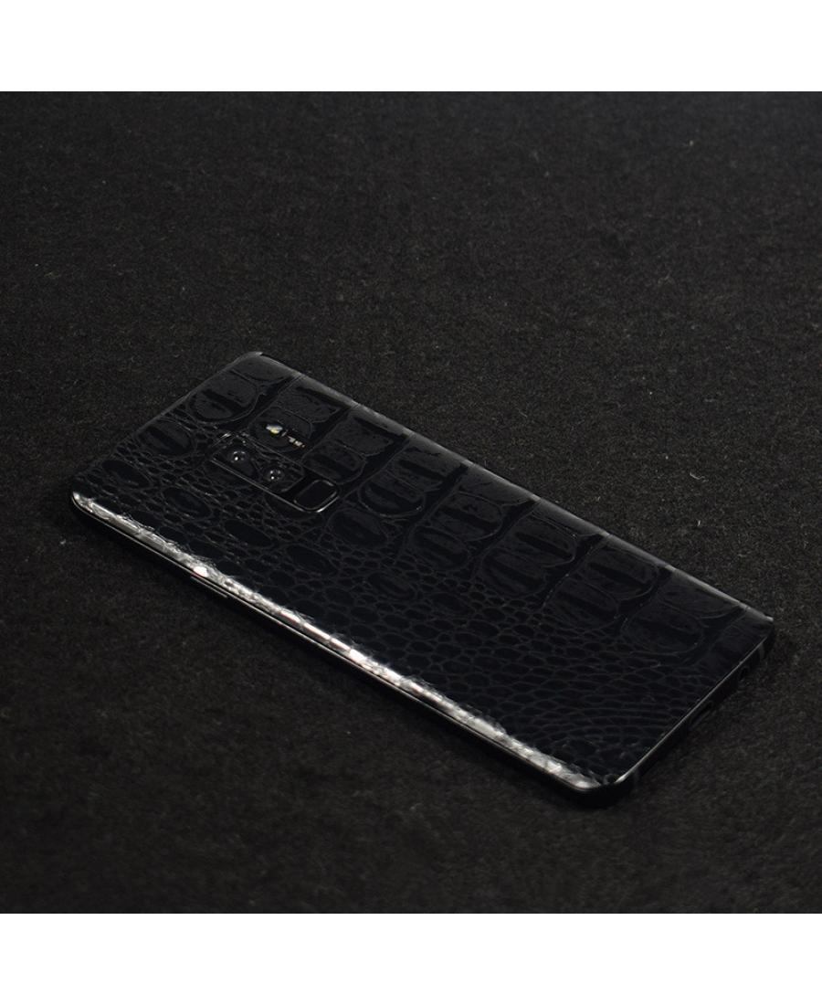 """Виниловая наклейка Samsung Galaxy S9 """"кожа крокодила"""" черный цвет"""