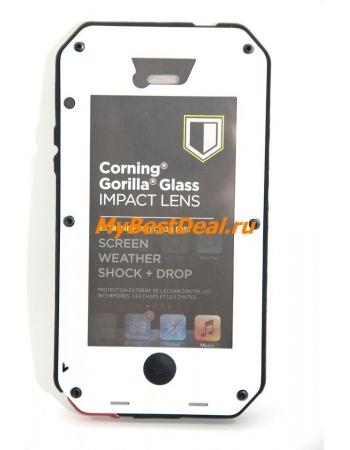 Металлический чехол Iphone 5/5s Taktik extreme+ Gorilla Glass. Белый цвет