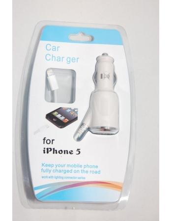 Автомобильная зарядка Iphone 5. Белый цвет. Retail