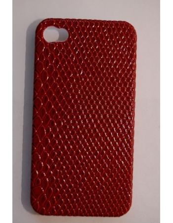 Защитная крышка Iphone 4. Красная кожа змеи