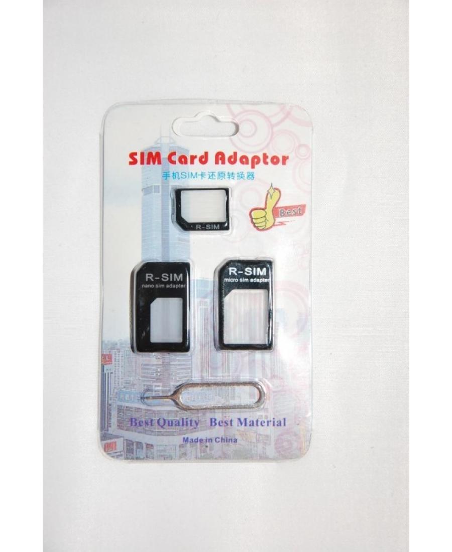 Комплект адаптеров 3 шт для Iphone 5 + скрепка в подарок. Черный цвет